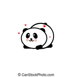 Cute Panda in love and played vector illustration, Baby Bear logo, new design line art, Chinese Teddy-bear Black color sign, simple image, picture with animal and hearts.