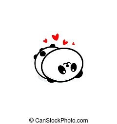 Cute Panda In love and rest vector illustration, Baby Bear logo, new design line art, Chinese Teddy-bear Black color sign, simple image, picture with animal played