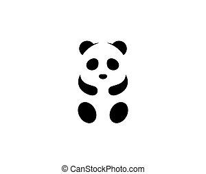Cute panda logo template vector icon illustration