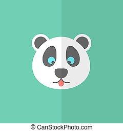 cute panda on green background