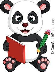 Cute Panda reading a book
