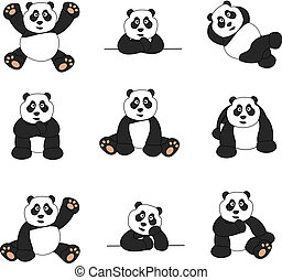Illustration set of nine cute cartoon pandas