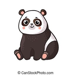 Cute panda sits on a white background.