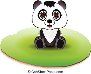 Cute panda sitting on ground