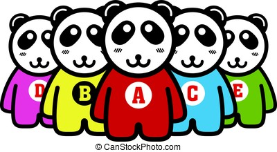 cute panda standing in a line like humen, vector