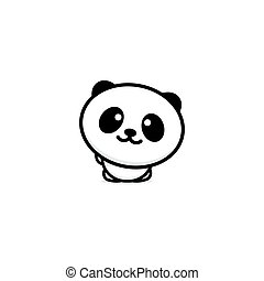 Cute Panda welcomes waving his hand vector illustration, Baby Bear logo, new design line art, Chinese Teddy-bear Black color sign, simple image, picture with animal