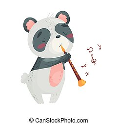 Cute panda with a pipe. Vector illustration on white background.