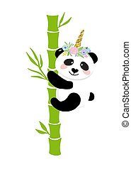 Cute panda with a unicorn horn in the color of the rainbow. Pandacorn.