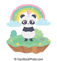 cute panda with bird animals adorable with flowers and rainbow cartoon