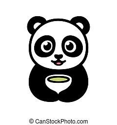 Cute panda with cup of tea