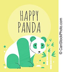 Cute panda with flowers and plants greeting card