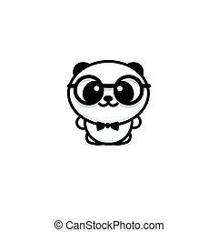 Cute Panda With glasses and butterfly vector illustration, Baby Bear logo, new design line art, Chinese Teddy-bear Black color sign, simple image, picture with animal.
