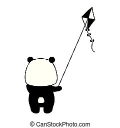 cute panda with kite toy