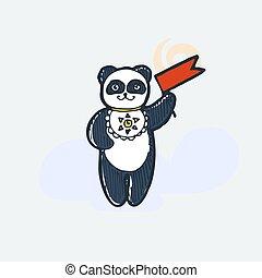 Cute panda with pennon. Cartoon hand drawn vector illustration