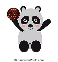 cute panda with sweet candy chocolate