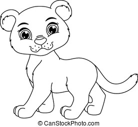 cute panther coloring page image of a cute cartoon panther