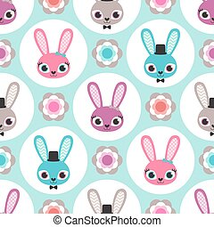 cute, papel parede, coelhos, seamless