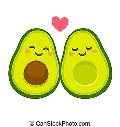 cute, par, abacate, amor