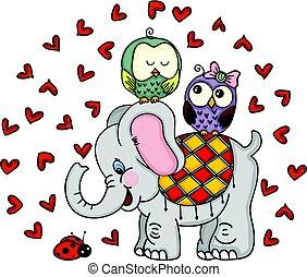 cute, par, corujas, elefante, ladybug