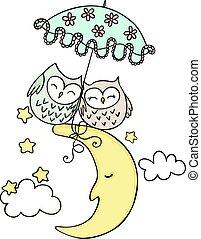 cute, par, corujas, lua