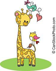 cute, par, girafa, pássaros