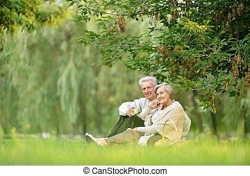 cute, par, parque, idoso, retrato