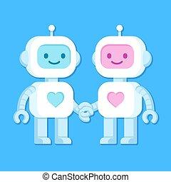 cute, par, robô
