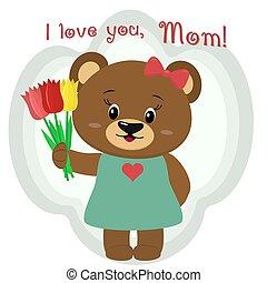 cute, parabéns, tulips., marrom, s, segura, três, urso, cartoons., dia, estilo, mãe, seu
