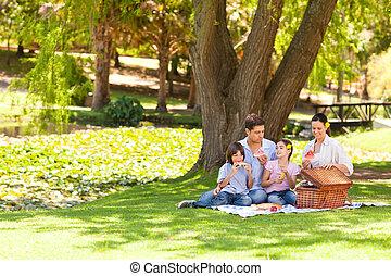 cute, parque, família, fazendo piquenique