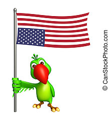 cute Parrot cartoon character with flag