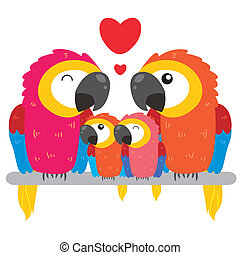 cute parrot family