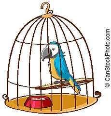 Cute parrot in cage on white background