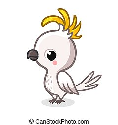 Cute parrot in cartoon style is standing on a white background. Vector illustration