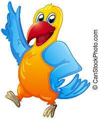 Cute parrot on white background