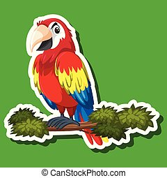 Cute parrot sticker character