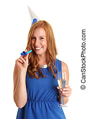Cute partying woman in blue dress