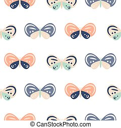 Cute pastel color butterfly cartoon baby seamless vector pattern.
