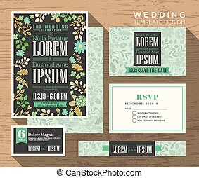 Cute pastel floral pattern wedding invitation set design Template
