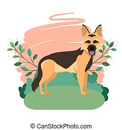 cute pastor aleman dog with background landscape vector illustration design