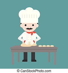 cute pastry chef threshing flour or kneading dough on table, flat design