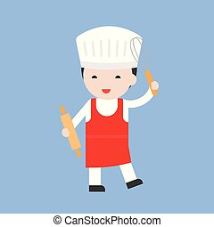 cute pastry chef with rolling pin, flat design