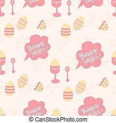 """Cute pattern for the holiday """"Happy Easter"""" in pastel colors on a pink background"""
