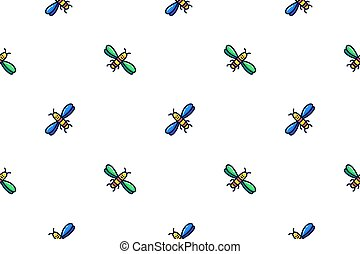 Cute pattern of bees in doodle style.