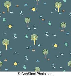 cute, pattern., seamless, árvore