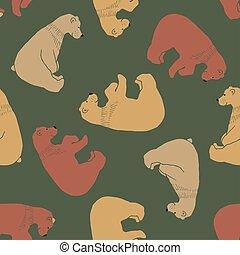 cute, pattern., seamless, bjørn