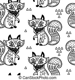 Cute pattern vector illustration with fox and ornaments in outline