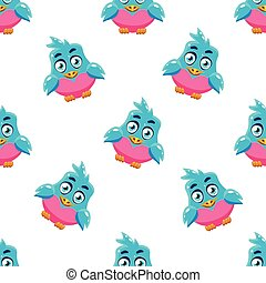 Cute Pattern With Blue Bird