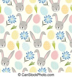Cute pattern with cartoon rabbits, eggs and flower