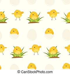 Cute pattern with cartoon yellow chickens