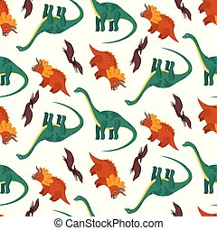Cute pattern with colorful cartoon dinosaurs